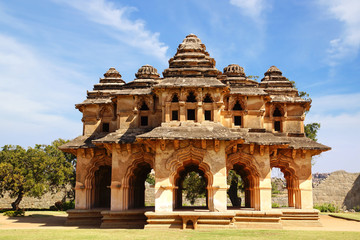 Ancient ruins of Lotus Temple. Hampi, India.