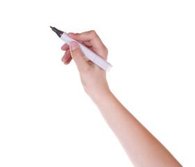 Hand mit Stift vor weissem Hintergrund