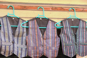 Nepali vests hanging in cloth shop. Bhaktapur-Nepal. 0229