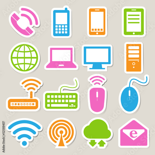 Icon set of mobile devices , computer and network connections.