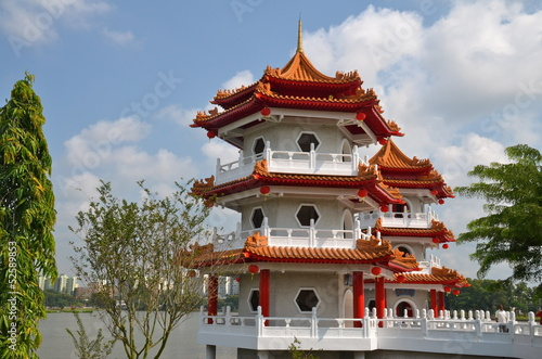 Twin Pagodas in  Chinese Gardens in Singapore