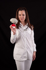 Medic woman holding a human brain model against black background