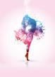 Ragazza che balla con schizzi di colore