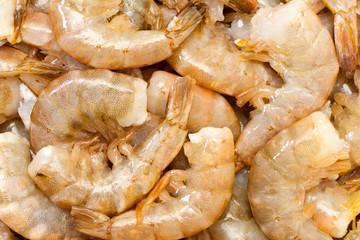 Raw headless prawns closeup