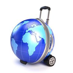 Globe suitcase - travel concept