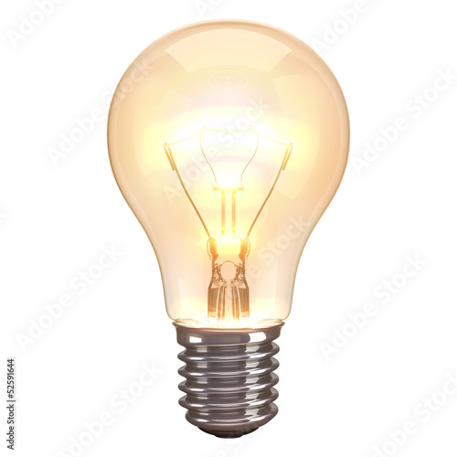 Leinwandbild Motiv Lamp Burn White Background