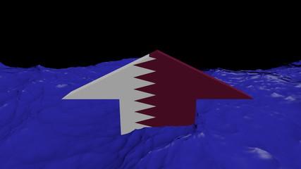 Qatar flag arrow in abstract ocean animation