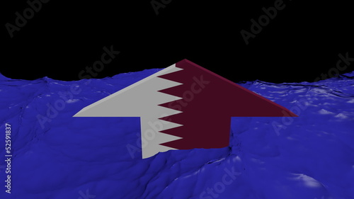 Qatar flag arrow in abstract ocean animation