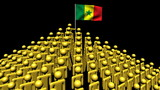 pyramid of men with rippling Senegal flag animation
