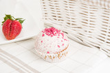 Basket, mug, cake and strawberry