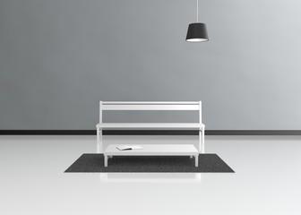 Moderner Raum mit Bank Tisch und Hängeleuchte