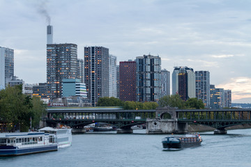Seine and Modern Skyscrapers in Paris
