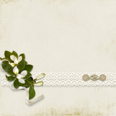 Vintage beautiful background with bouquet and with space for tex