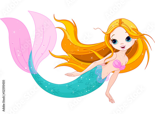 Poster Zeemeermin Cute Mermaid