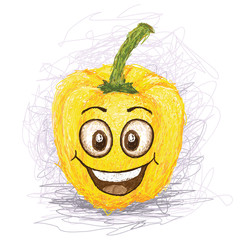 happy yellow bell pepper