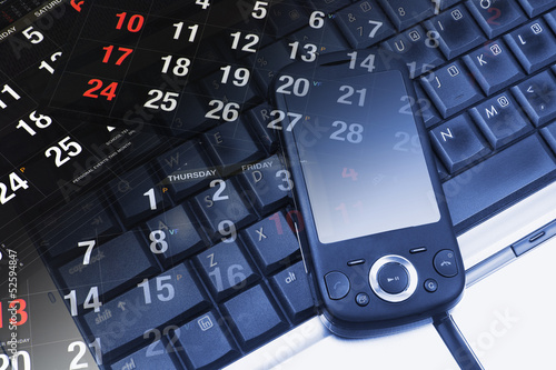 Calendar, Smart Phone and Laptop