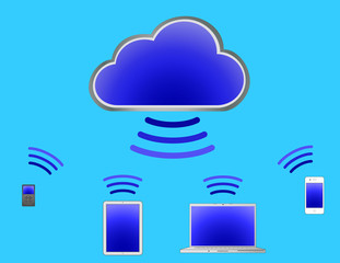 Cloud Computing With Blue Background