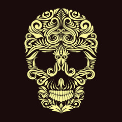 Dark Brown Ornament Skull