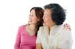 Asian senior woman and daughter