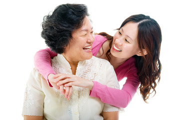 Asian woman talking to her mother