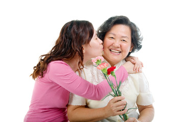 Asian woman kiss her mother