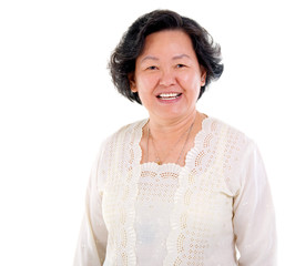 Cheerful asian senior woman