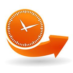 horloge sur bouton web orange
