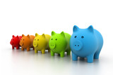 Colourful Piggy bank in a row.