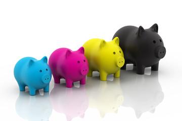 CMYK piggy bank.