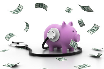 Piggy bank with stethoscope.