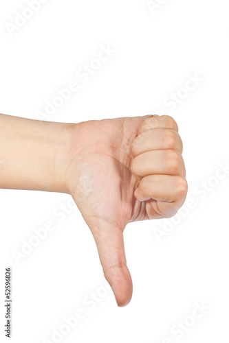 thumb down isolated with white background