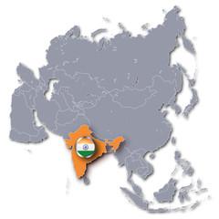 Asienkarte mit Indien