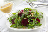 Salad with ruccola and sugar beets.