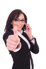 business woman thumb up & phone
