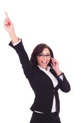 business woman cheers on the phone