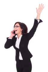 business woman victorious on phone