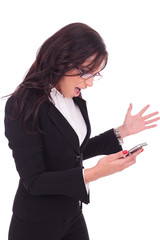 business woman angry at phone