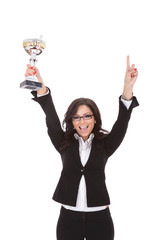 business woman cheers with trophy