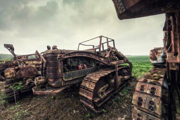 rusting farm tractor
