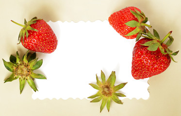 Frame with ripe strawberries