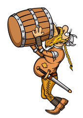 Cartoon viking drinking from a barrel