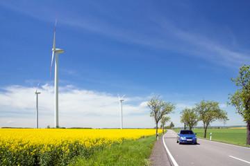 windrad, raps, straße, auto, biodiesel, e10