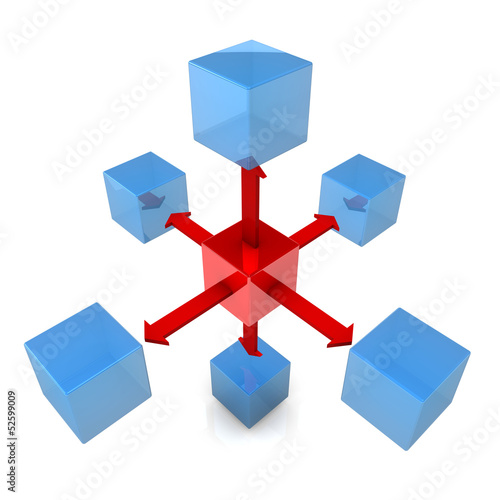 Six Blue Cubes With Red Cube