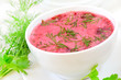 Red borscht with sour cream and dill