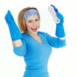 Cleaning woman is happy after doing housework