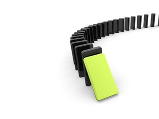 Domino effect one is green