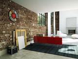Fototapety schönes wohnzimmer in einem loft