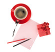 Red coffee cup, gift box and love letter