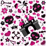 Fototapety cute girlish aggressive pattern