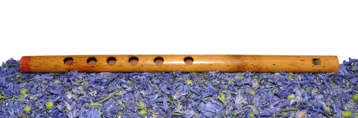 Wooden Recorder With Dried Bluebells